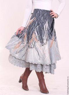 """Купить Юбка шерстяная """"Бохо-шик"""" - серый, абстрактный, юбка теплая, юбка зимняя"""