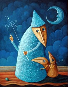 Astronomy Lesson III by FrodoK (Leszek Andrzej Kostuj) The Moon Is Beautiful, Weird And Wonderful, Dynamic Painting, Shadow Pictures, Moon Shadow, Space And Astronomy, Pop Surrealism, Stargazing, Bird Art