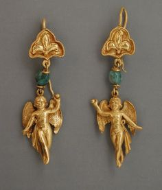 Pair of Earrings. Eastern Mediterranean, Hellenistic Period, 3rd-2nd century B.C. Jewelry and Adornments; earrings, Gold