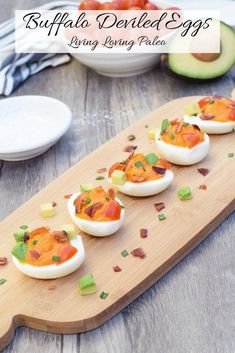 Buffalo Deviled Eggs from Living Loving Paleo! Paleo Appetizers, Appetizer Recipes, Savory Snacks, Breakfast On The Go, Paleo Breakfast, Paleo Whole 30, Whole 30 Recipes, Paleo Recipes, Real Food Recipes