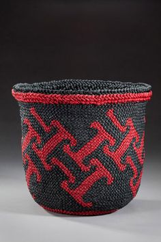 """Ply-split basket by David Fraser, author of """"Ply-Split Braided Baskets: Exploring Sculpture in Plain Oblique Twining"""" Pretty Patterns, Baskets, Braids, Textiles, Traditional, Exploring, Macrame, Weaving, David"""