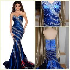 Wholesale Prom Dresses - Buy 2015 Bling Luxury Sparkle Prom Dress Sweetheart Zipper Court Train Sleeveless Evening Gowns Crystal Sequins Stretch Satin Party Dresses, $168.74 | DHgate.com