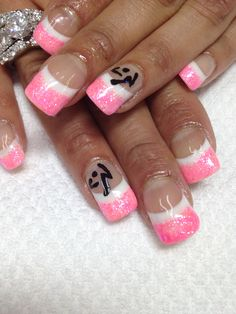 Zumba nails!! I sculpted this full set of nails, white French with bright pink glitter then hand painted the Zumba symbol. So fun!! All non-toxic and odorless gel used!!