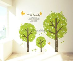 Tree Family With Butterfly Wall Decals – WallDecalMall.com