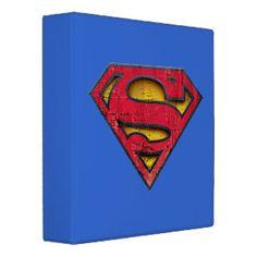 Superman Distressed Logo 3 Ring Binder