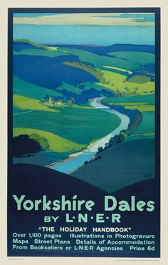 Vintage Poster Vintage Railway Poster - Yorkshire Dales by LNER - Poster for London and North Eastern Railways, Posters Uk, Train Posters, Railway Posters, Yorkshire Dales, Yorkshire England, North Yorkshire, British Travel, National Railway Museum, Train Travel