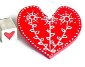 Red  Valentine Heart Ceramic Ornament Eco Friendly Pottery Wedding Favor Mothers Day Gift