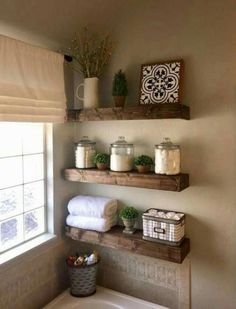 47 Comfy Farmhouse Bathroom Decor Ideas With Rustic Style is part of Small bathroom decor Farmhouse bathroom accessories can be ideal for adding decoration in addition to practicality Decorating yo - Living Room Candles, Bathroom Shelf Decor, Bathroom Storage, Bathroom Organization, Bathroom Cabinets, Bath Decor, Toilet Storage, Bathroom Vanities, Laundry Storage
