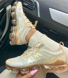 Shop Women's Nike Cream Gold size 10 Sneakers at a discounted price at Poshmark. Description: In excellent condition, authentic nike Air Vapormax Sold by goddessgarden. Me Too Shoes, Women's Shoes, Shoe Boots, Gold Nike Shoes, Cute Sneakers, Sneakers Nike, Yeezy Sneakers, Nike Flats, Nike Heels