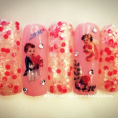 Valentine's nailsart ideas from BeBerry Beauty Nails Spa salon in Bangkok THAILAND very cute!