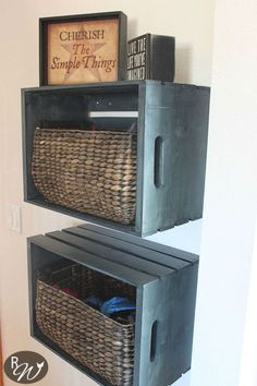 DIY Mudroom Storage Crates – The Rustic Willow - Wooden Crates Bookshelf Wood Crate Shelves, Crate Bookshelf, Wood Crates, Crates On Wall, Wall Shelves, Diy Storage Crate, Wall Storage, Record Storage, Nintendo Console