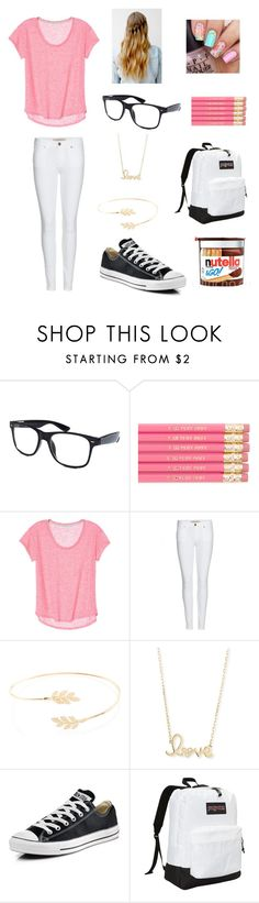 """""""school outfit"""" by marilyng341 ❤ liked on Polyvore featuring Retrò, Burberry, Accessorize, Sydney Evan, Converse and JanSport"""