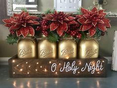 O Holy Night Christmas Centerpiece – Stacy Turner Creations Christmas Mason Jars, Rustic Christmas, Winter Christmas, Christmas Time, Primitive Christmas, Christmas Christmas, Christmas Projects, Holiday Crafts, Christmas Ideas