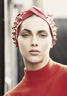 Spiked Turban by Jennifer Behr ::spike:: turban :: satin :: red :: orange :: hair :: head wrap :: studs ::