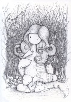 The Den - gorjuss Colouring Pages, Coloring Books, Santoro London, Cross Stitch Kits, Digital Stamps, Cute Art, Pencil Drawings, Whimsical, Doodles