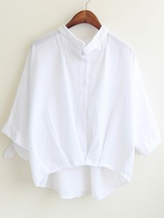 Buy Stand Collar Crop White Blouse from abaday.com, FREE shipping Worldwide - Fashion Clothing, Latest Street Fashion At Abaday.com