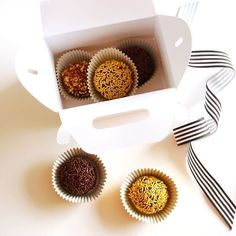 "These Brazilian truffles (brigadeiro) are my favorite dessert of all time!  They're so easy to make and perfect to serve at a party or great as a hostess gift too! I packaged them into our cute mini gable boxes that come in  various shimmery colors - perfect for gifting!!  Get the recipe at blog.BirdsParty.com by searching ""brigadeiro"" and the darling boxes at BirdsParty.com . . . #twitter #falldesserts #truffles #brigadeiro #f52grams #bhgfood #thanksgivingfood #dessertsrecipe #yahoofood…"