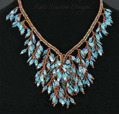 Fringed Foliage Necklace by Kate Tracton Bead Jewellery, Seed Bead Jewelry, Wire Jewelry, Jewelry Crafts, Beaded Jewelry, Beaded Necklaces, Seed Beads, Jewelry Patterns, Beading Patterns