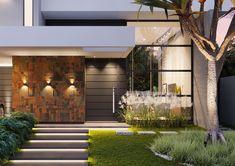 Uma composição harmoniosa na arquitetura desta casa. Perceba a iluminação estudada nos degraus de acesso, na parede em pedra ferro, no…