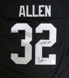 """Oakland Raiders Marcus Allen Autographed Black Jersey """"""""SB XVIII MVP"""""""" PSA/DNA"""