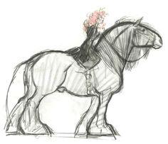Brave Pixar Concept Art Horse – Art Drawing Tips Pixar Concept Art, Disney Concept Art, Horse Drawings, Animal Drawings, Art Drawings, Drawing Faces, Disney Sketches, Disney Drawings, Drawing Disney