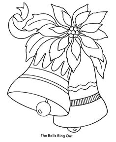 Decorative Bells And The Christmas Flower Coloring Page
