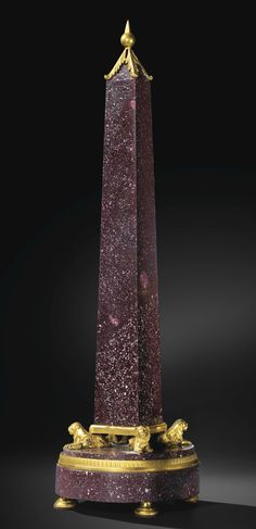 A GILTBRONZE MOUNTED RED EGYPTIAN PORPHYRY OBELISK, ROME, LATE 18TH CENTURY, CIRCLE OF GIUSEPPE VALADIER