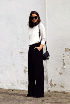 A Chic Take On Black Wide-Leg Pants