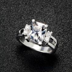 Square Big Stone Austrian Crystal Engagement Ring Zircon