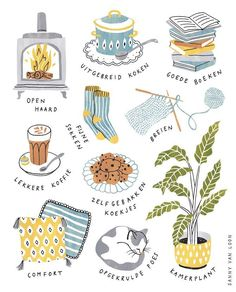 Illustrations for an article in Margriet magazine (NL) about the Danish concept 'Hygge' by Sanny van Loon