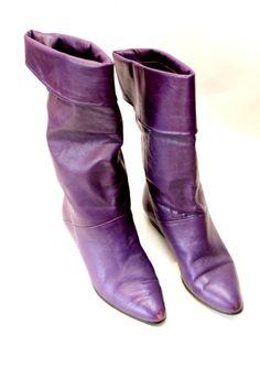 80s Slouchy Purple Boots 7 by AARDVARKMARKET on Etsy