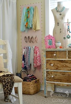 Jewelry and Accessory Organization Ideas – Use Vintage Finds! DIY- Pretty Jewelry and Fashion Accessory Storage and Organization Ideas ! Hollow CottageDIY- Pretty Jewelry and Fashion Accessory Storage and Organization Ideas ! Dorm Room Organization, Storage Organization, Jewelry Organization, Storage Ideas, Organizing Ideas, Southern Living, Scarf Storage, Dresser As Nightstand, Jewellery Storage