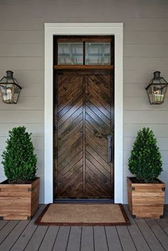 LOVE this wood door!  The top window still lets light in, but doesn't give away that I'm home if I don't want to open the door ;)