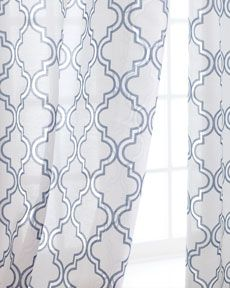 """Blue patterned Softline Home Fashions """"Ambrosia"""" Sheer Curtains from Horchow"""