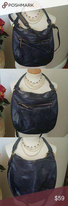 Selling this Elliot Lucca Cross Body Hobo Bag Blue Leather on Poshmark! My username is: bobbiaughtry. #shopmycloset #poshmark #fashion #shopping #style #forsale #Elliott Lucca #Handbags