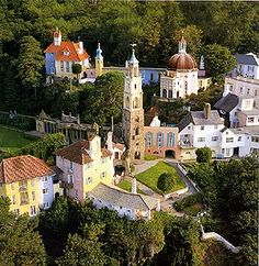 I loved visiting Portmeirion in Wales because it's made from a collection of odd bits and architectural fragments, rescued from places all over Europe. It was the brainchild of Sir Clough Williams-Ellis who built it during the period from 1925 to 1975. His daughter Susan was the designer of Portmeirion china.