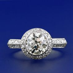 1.58 Carat European Cut Diamond Engagement Ring