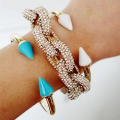 "T&j Designs Gold Bracelet With Blue Enamel Spikes Just in! This beautiful bracelet is a piece from the T+j Designs Collection which just launched in the Poshmark Wholesale Portal! 15% off bundles of 2 items or more! Let me know if you have any questions!  This gold bracelet with blue enamel spikes is an essential piece to any arm party. Gold bracelet with white enamel spikes also for sale in my closet!  2.25"" diameter Cuff bracelet with hinge clasp T&J Designs Jewelry Bracelets"