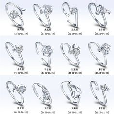 968011a36 12 Zodiac Ring Aries Taurus Gemini Cancer Virgo Libra Scorpius Sagittarius  Capricornus Wedding Love CZ Open Adjustable Rings
