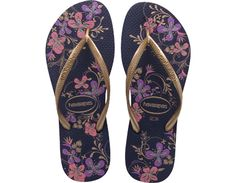 Havaianas Women's SLIM SEASON SANDAL in Navy Blue/Gold