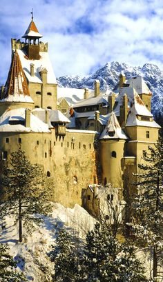 """The famous """"Dracula Castle"""", also known as Bran Castle, in Transylvania, Romania. Places Around The World, Oh The Places You'll Go, Places To Travel, Places To Visit, Around The Worlds, Chateau Medieval, Medieval Castle, Beautiful Castles, Beautiful Places"""