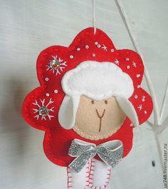 """Новогодняя елочная игрушка """"Барашек"""" - овечка,новогодний декор,новогодний подарок"""
