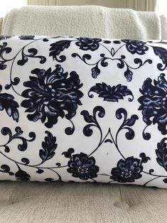 Owen Jones Lumbar // Chinoiserie Pillow // Decorative Pillow // Dark Blue Pillow Chinoiserie, Pillow Inserts, Pillow Covers, Owen Jones, Blue Pillows, Satin Fabric, Lumbar Pillow, Print Patterns, Dark Blue