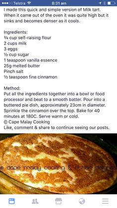 Yummy Recipes, Cookie Recipes, Dessert Recipes, Melktert, Recipe Tin, Goeie Nag, Good Food, Yummy Food, South African Recipes