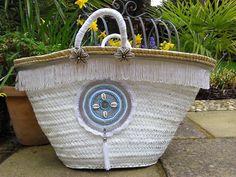 Shopping BasketEmbellished Beach Basket Boho Hippy by MariZoli - SOLD