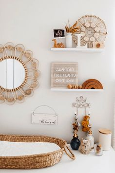 A nursery design trend in 2020 that continues to grow in popularity is the use of natural organic materials, particular rattan nursery decor. Boho Nursery, Nursery Neutral, Nursery Room, Girl Nursery, Girl Room, Nursery Mirror, Vintage Nursery, Baby Bedroom, Baby Room Decor