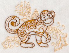 Mehndi Monkey Embroidered Decorative by EmbroideredbySue on Etsy Pin Up Tattoos, Trendy Tattoos, Tatoos, Henna Designs, Tattoo Designs, Monkey Tattoos, Butterfly Drawing, Mehndi Art, Sister Tattoos