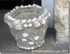 Shell-bejeweled Pots for Beach House
