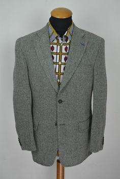 Vannucci Denmark Sakko gr 50 Grau Wolle Fischgrät Jacket Blazer size 40R Wool