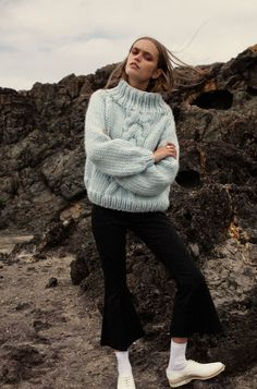 cropped flare trend also go perfectly with a white thick wool top.